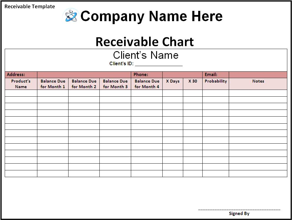 Business templates free printable sample ms word for Accounts receivable forms templates