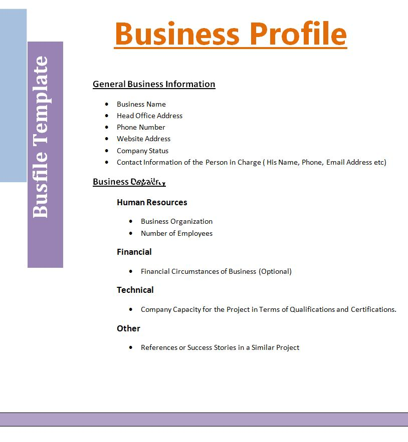 Business profile template free printable word templates for Distributor profile template