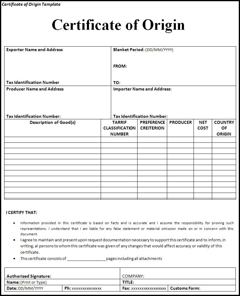 Certificate of origin template free printable word templates certificate of origin template yadclub Images
