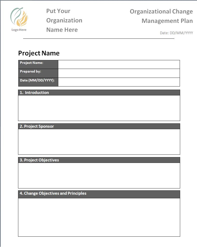 Change Management Plan Template  Change Management Form Template