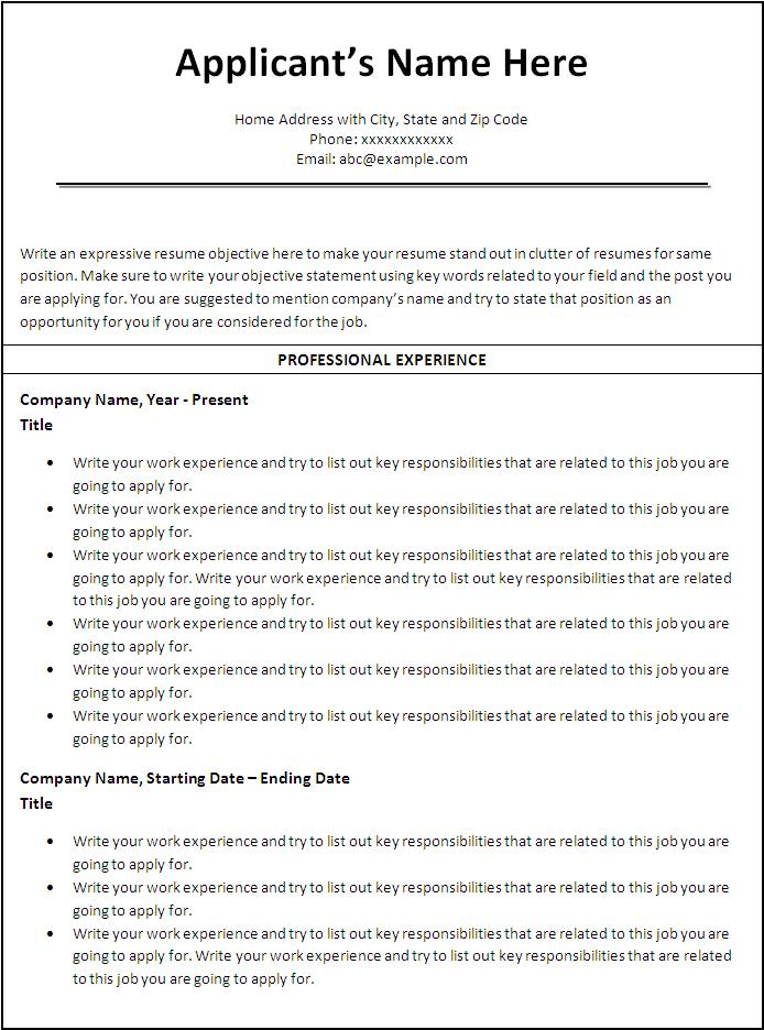 sample resume format word