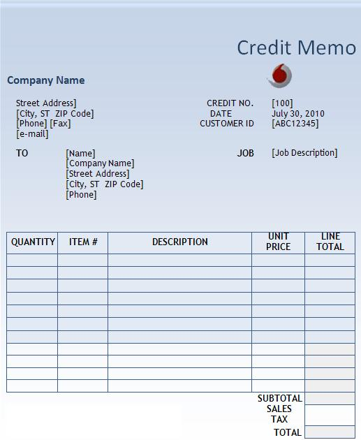 Credit Memo Templates  WowcircleTk