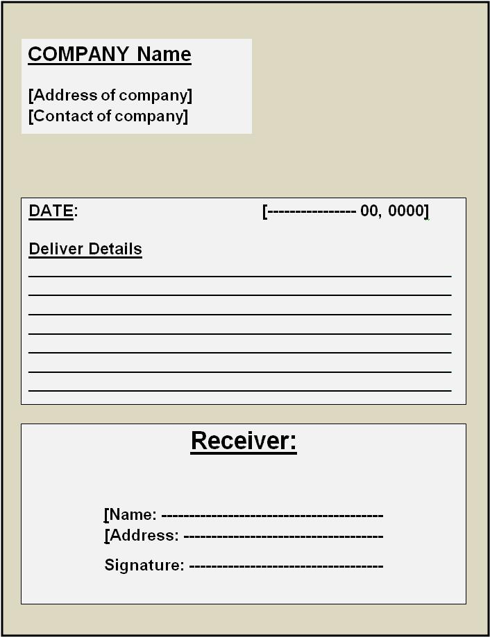Delivery Receipt Template Free Printable Word Templates