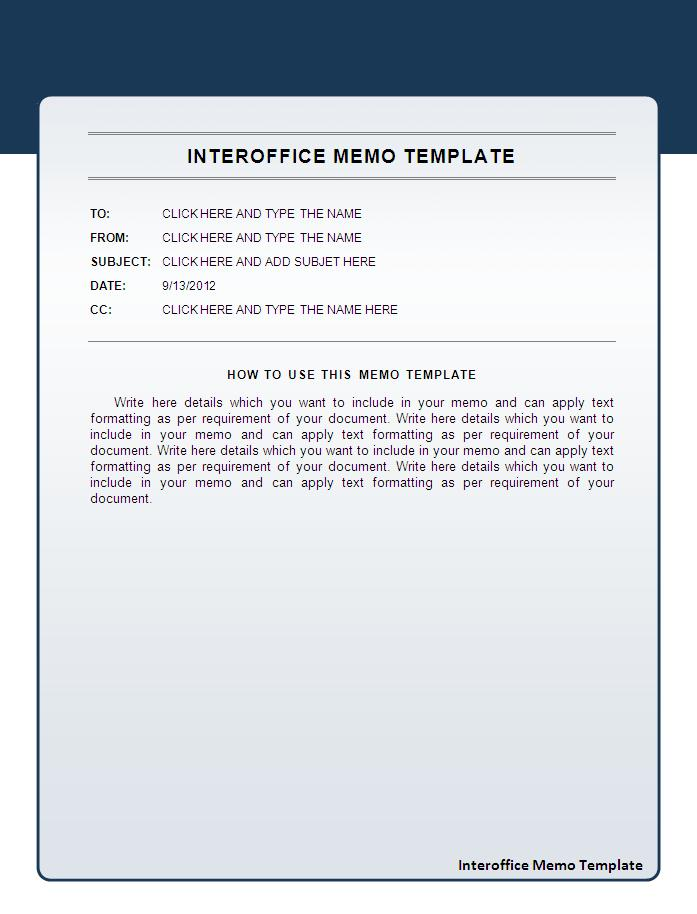 Inter office memo template for Microsoft office memo templates free