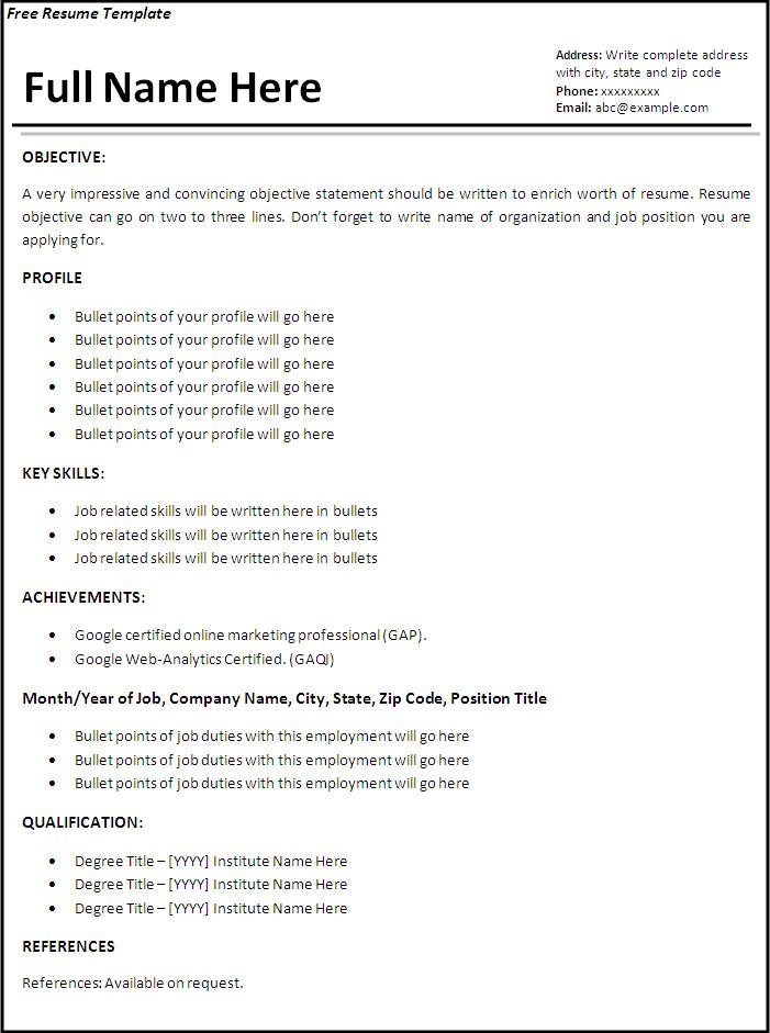 Job Resume Template | Free Printable Sample MS Word Templates, Resume ...