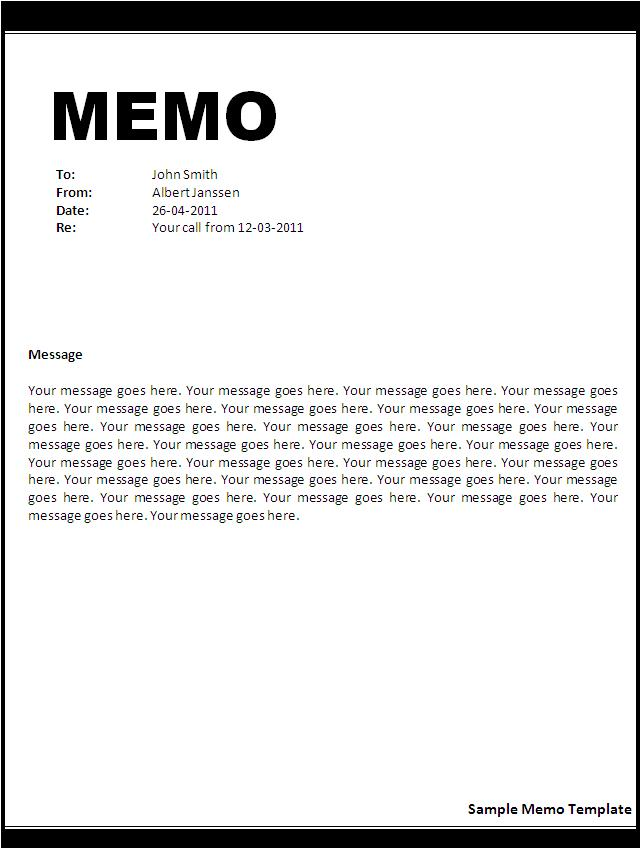 Sample Memo Template Word