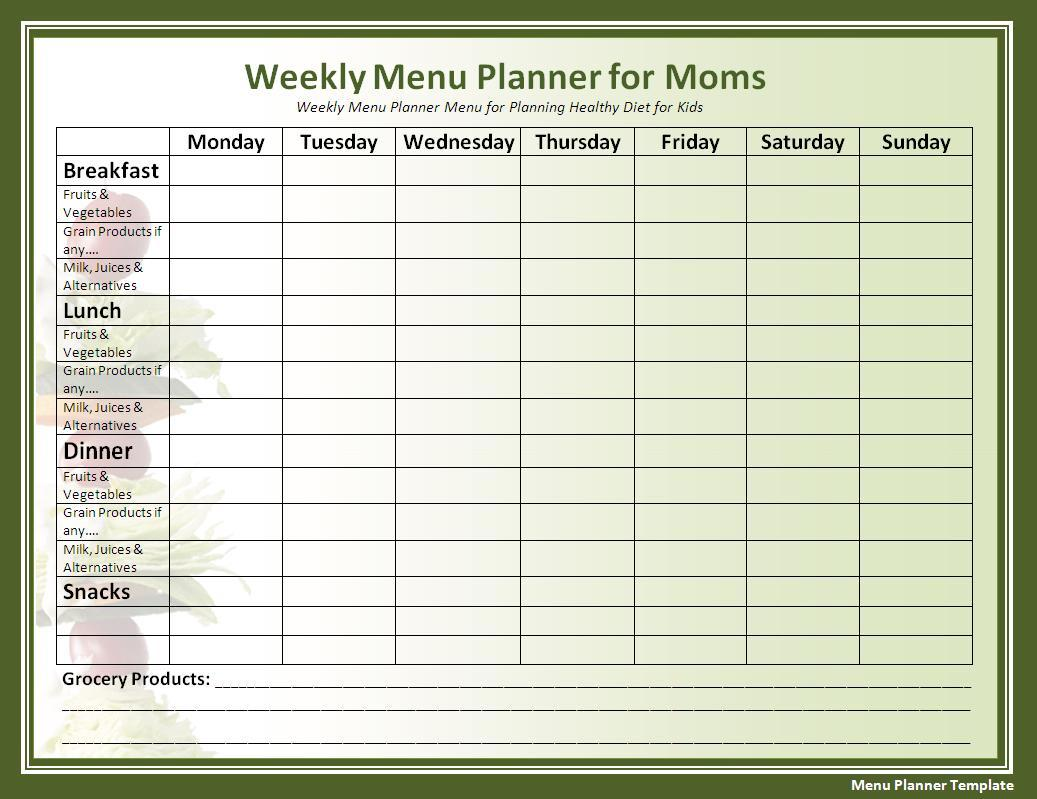 Menu Planner Template | Free Printable Word Templates,