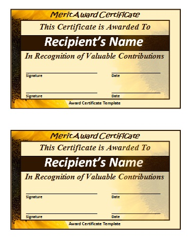 Merit Certificate Template  Free Printable Word Templates