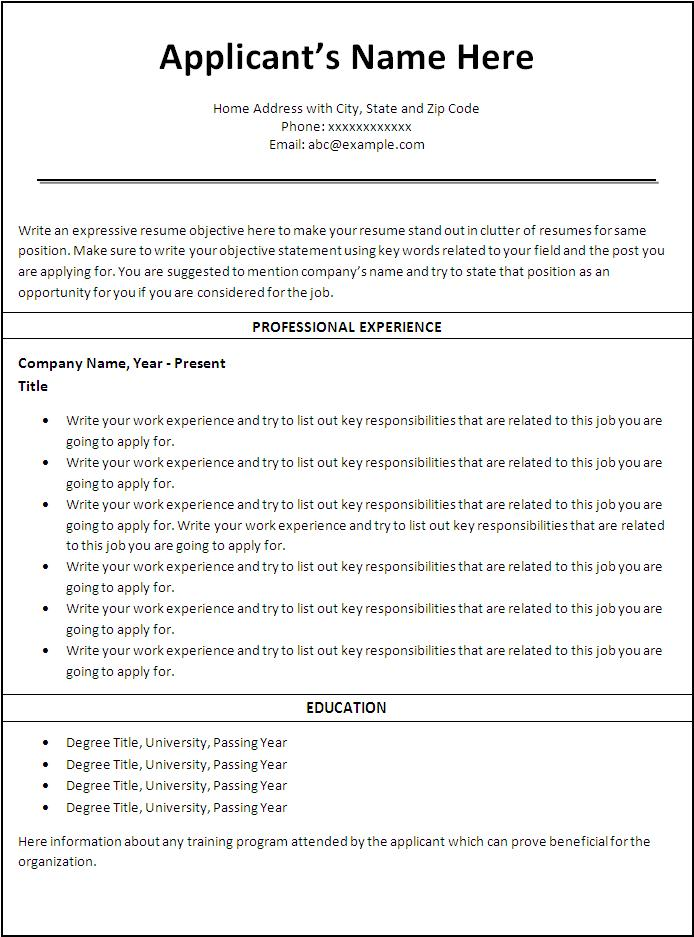 resume template job - Free Job Resume Templates