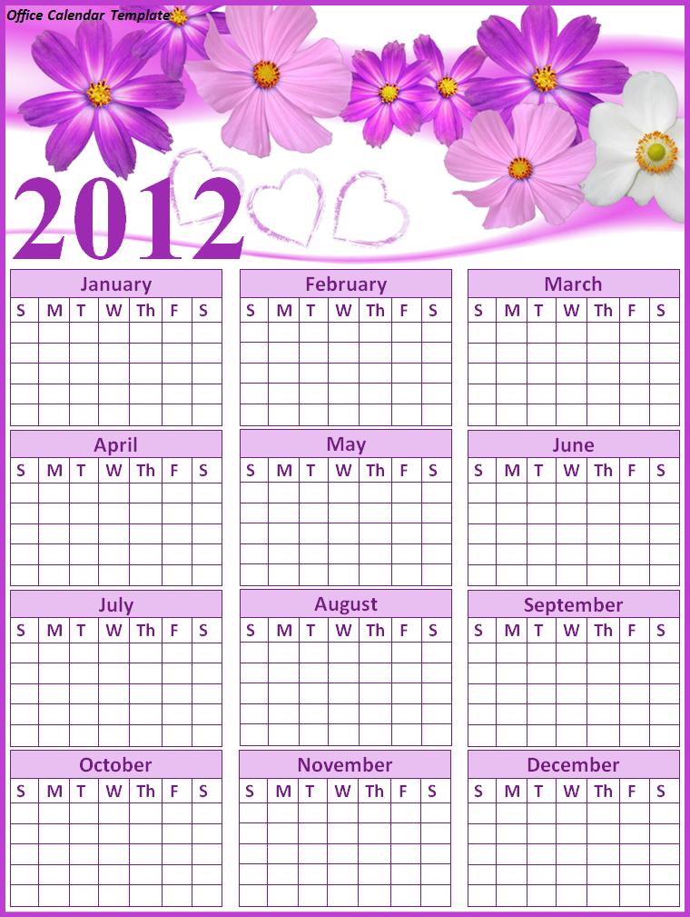 Office Calendar Template  Free Printable Word Templates