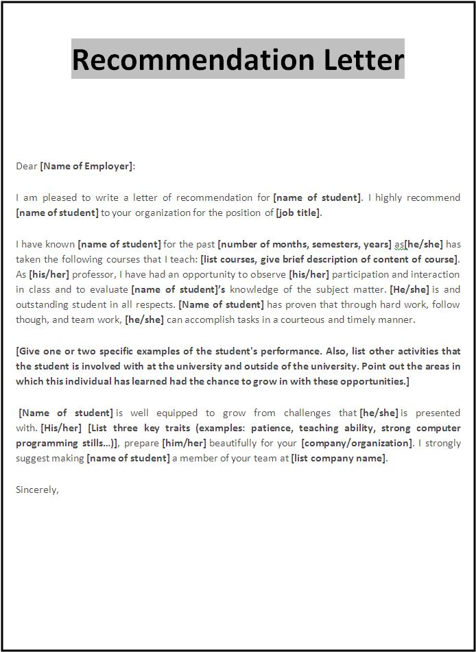 Sample recommendation letter template spiritdancerdesigns Gallery