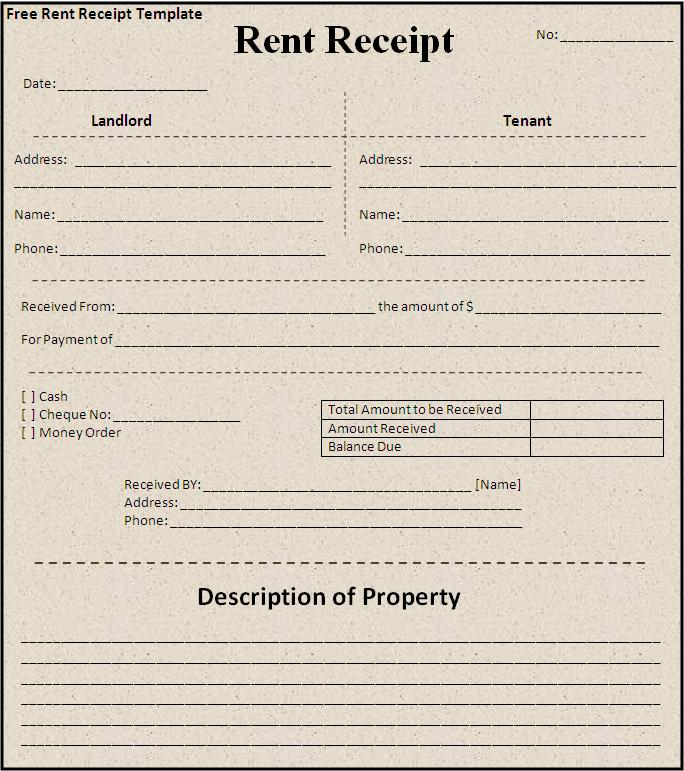 Rent Receipt Template | Free Printable Word Templates,