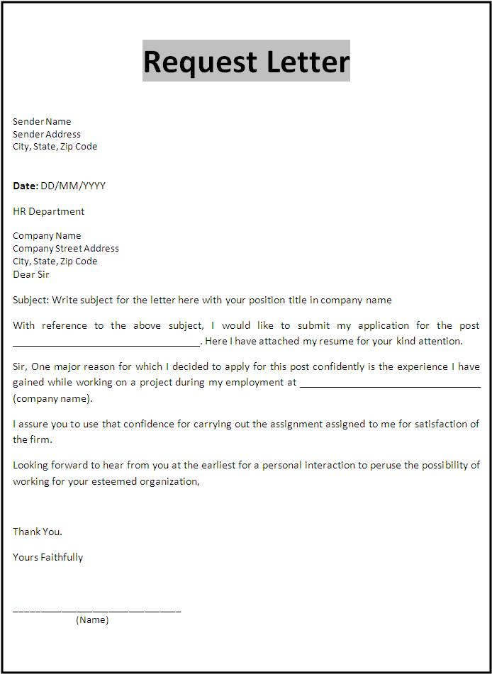 letter of request letter templates free printable sample ms word templates 572