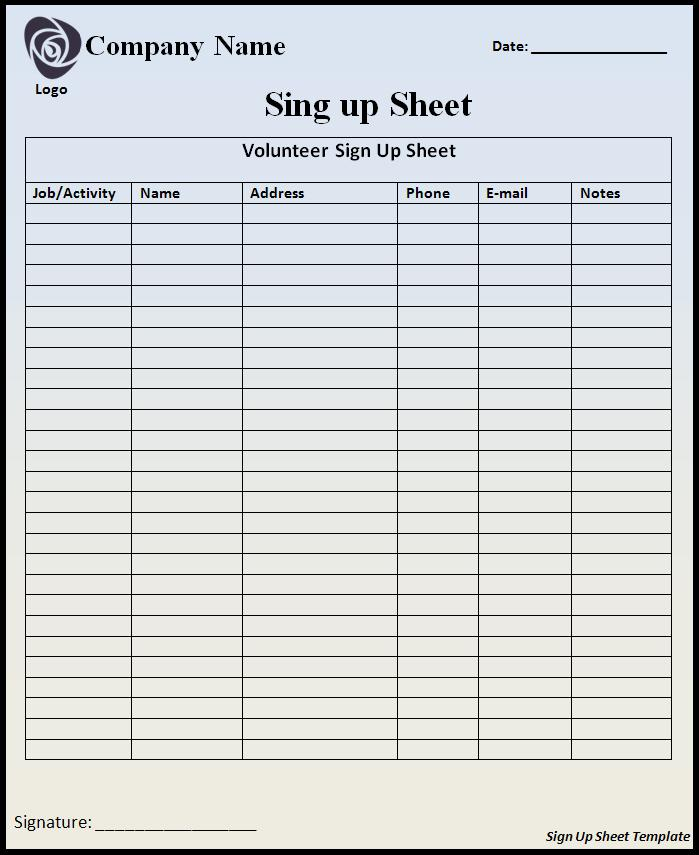 Signup Sheet Template Free Printable Word Templates