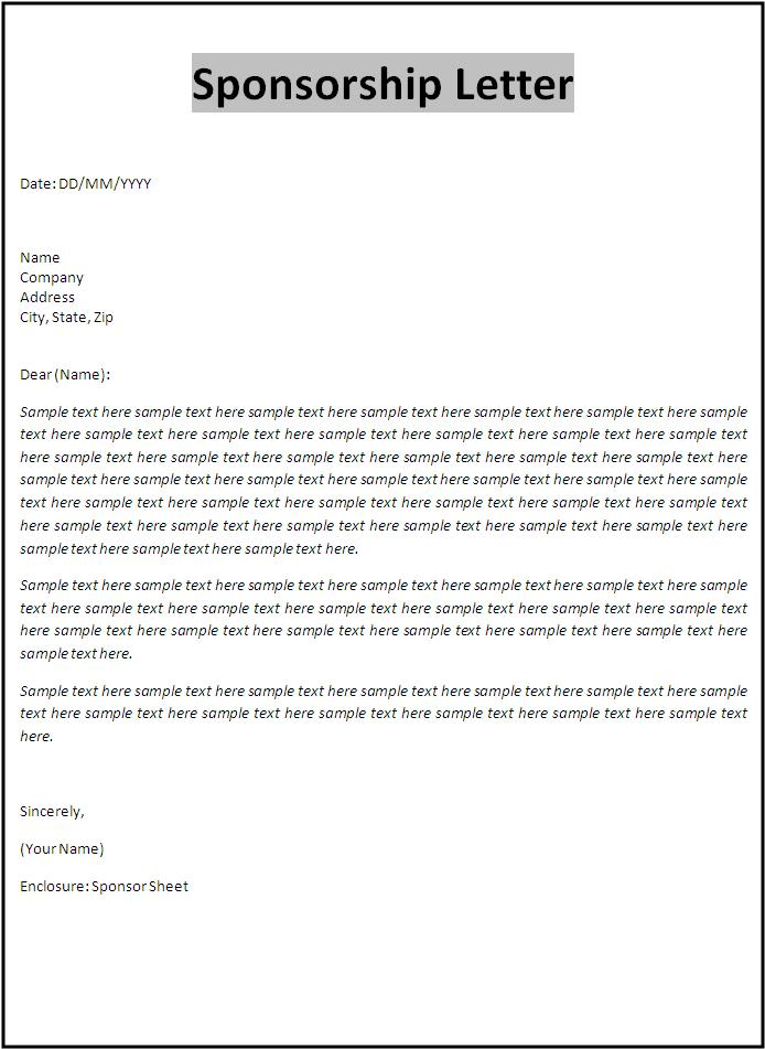 Letter templates free printable sample ms word templates for Sponsor application template