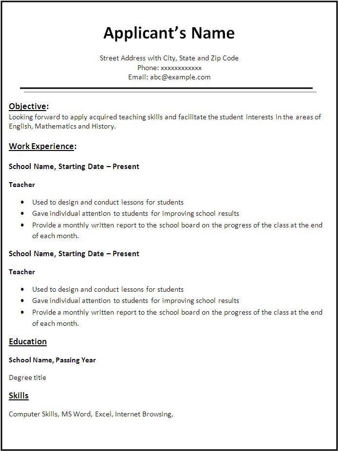 Teacher Resume Format Download