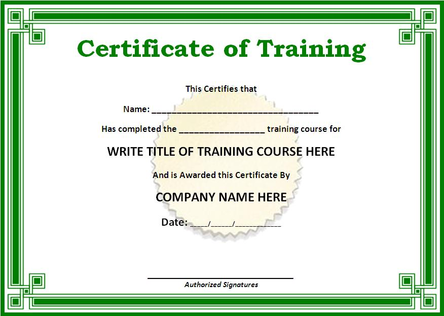 Training Certificate Template  Free Printable Word Templates