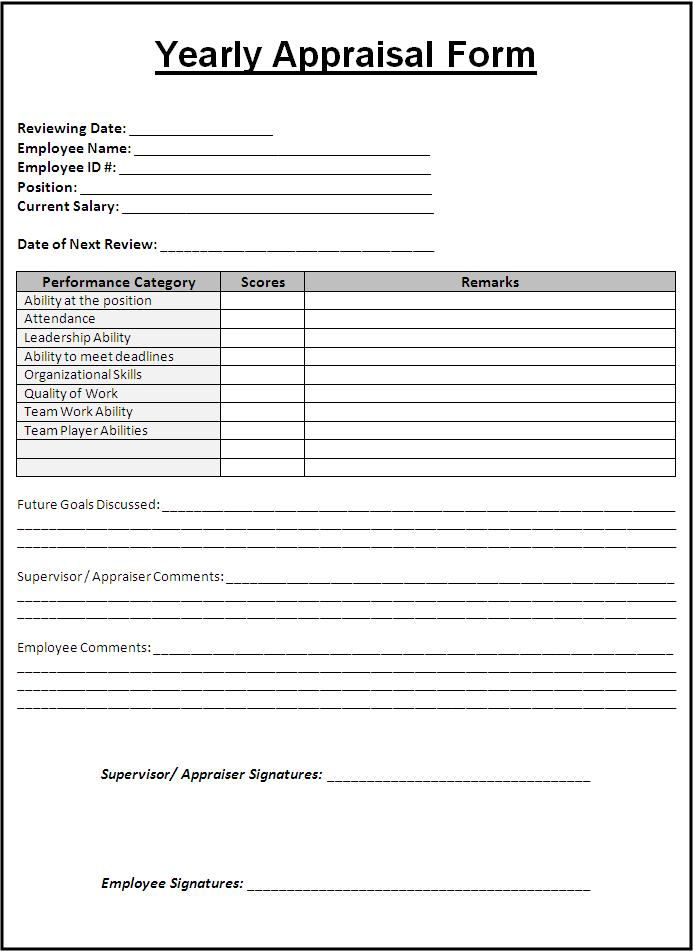 Yearly Appraisal Form Template | Free Printable Word Templates,