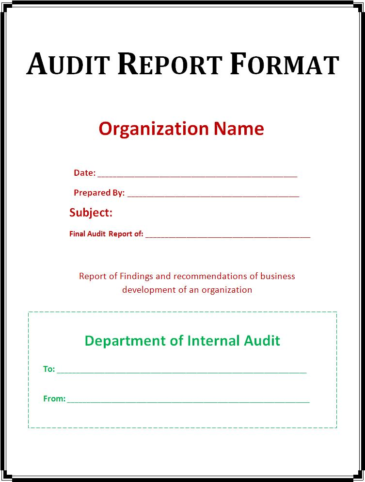 Audit Report Template  Audit Templates Free