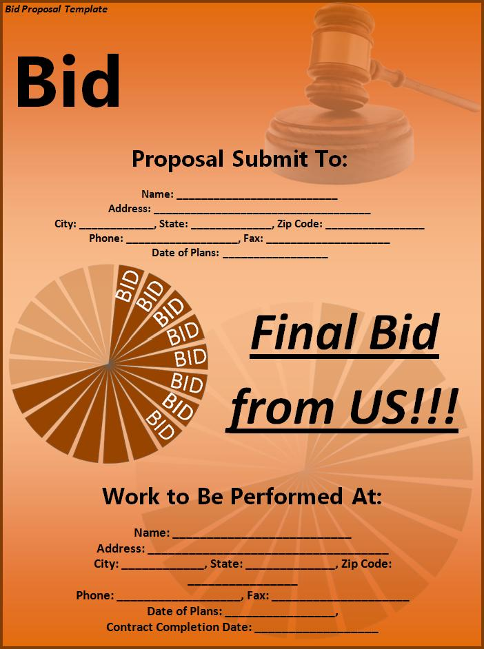 Bid Proposal Template  Free Printable Word Templates