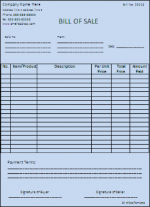 Bill of Sales Template