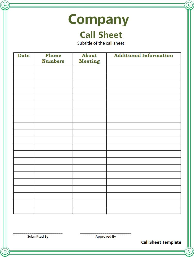 Call Sheet Template  Free Printable Word Templates