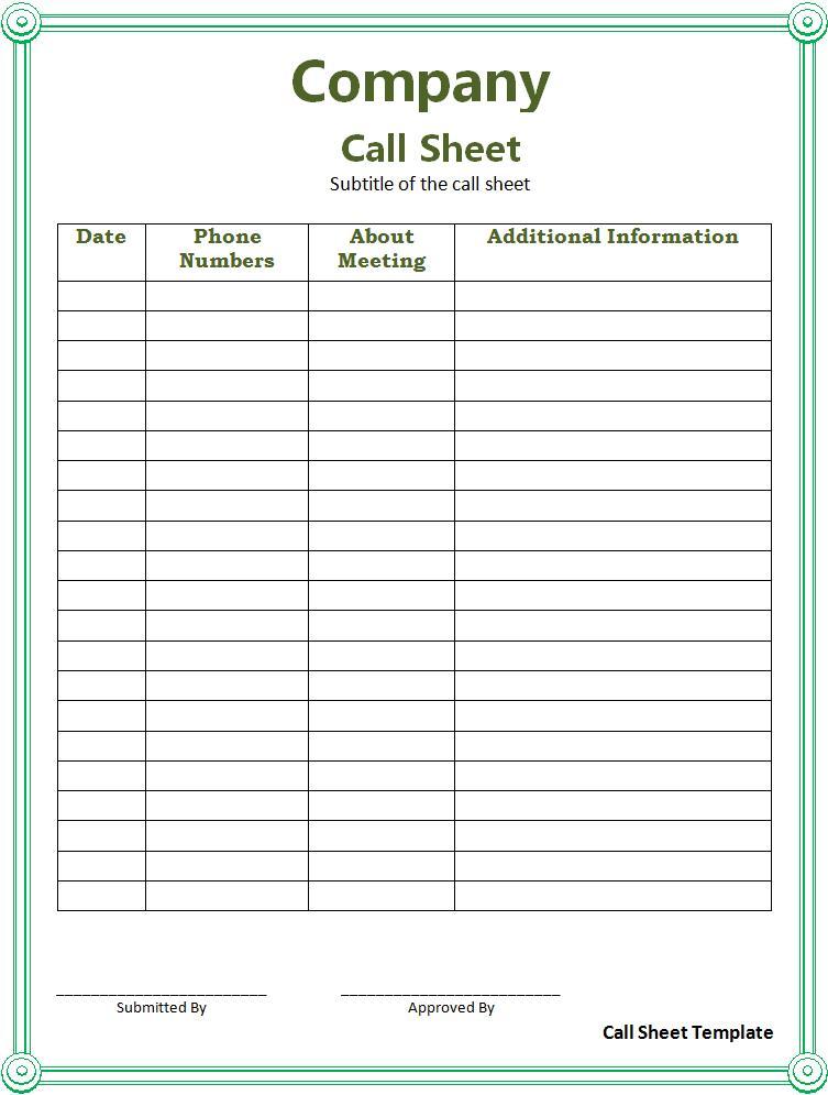 Call Sheet Template Free Printable Word Templates
