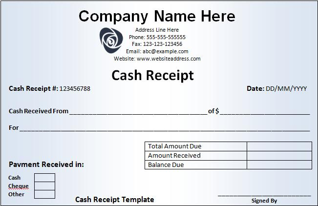 Cash Receipt Template  Free Printable Word Templates