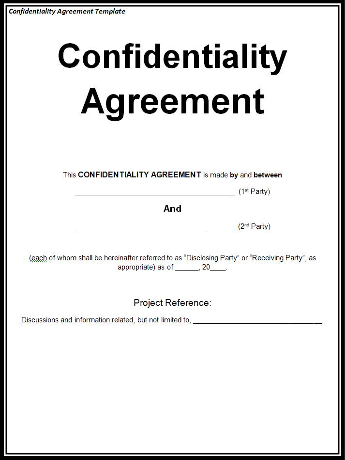 confidentiality agreement template free printable word templates. Black Bedroom Furniture Sets. Home Design Ideas