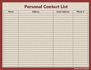 contact list template