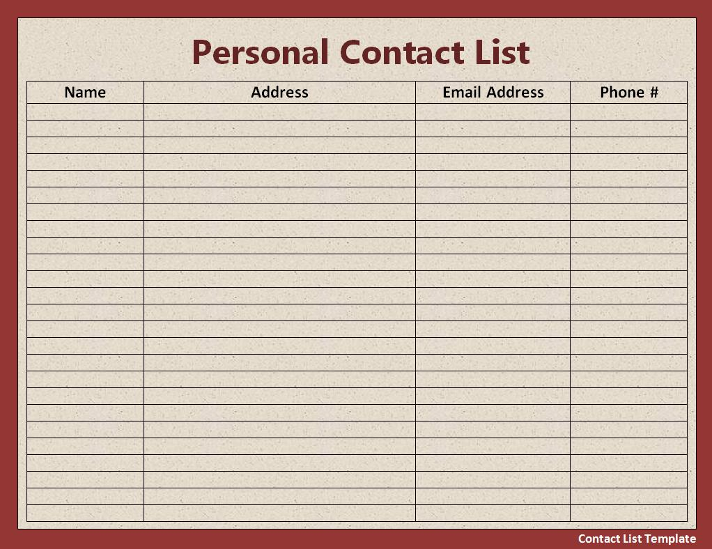free printable contact list templates – Printable Guest List Template
