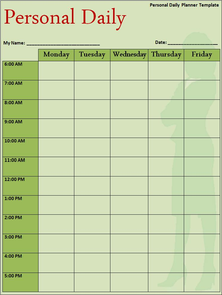 Template Daily Schedule  NinjaTurtletechrepairsCo