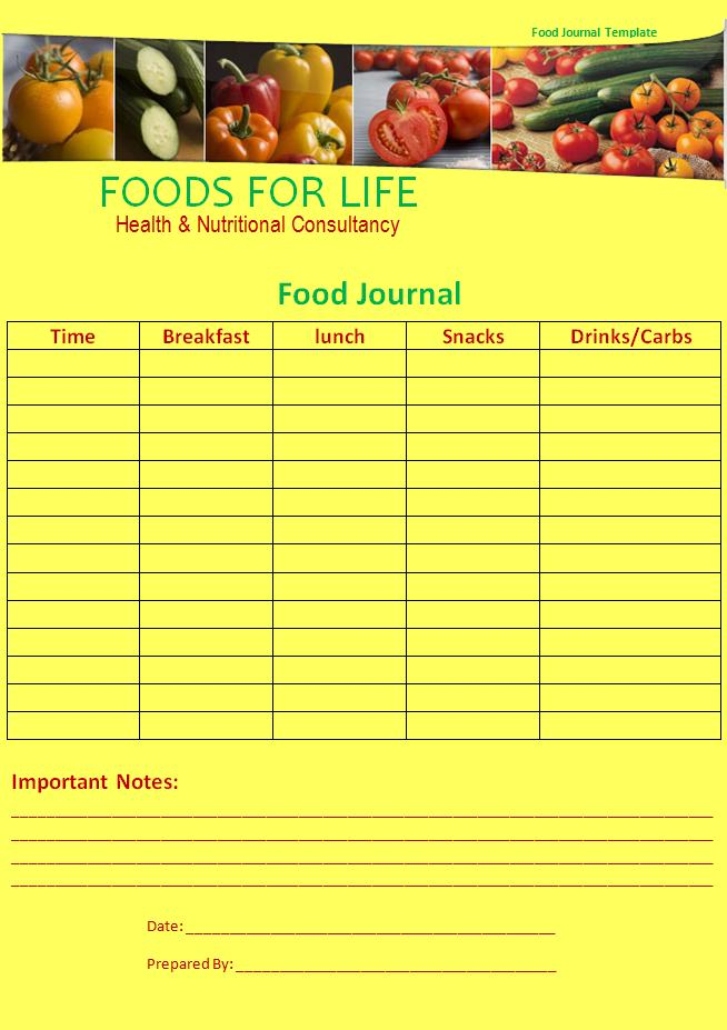 Food Journal Template | Professional Word Templates