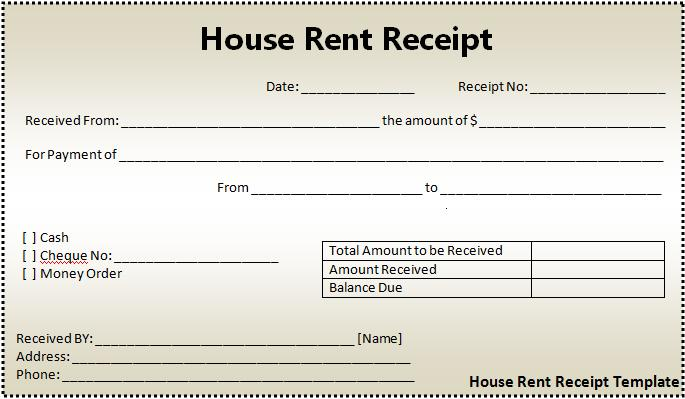 High Quality House Rent Receipt Format