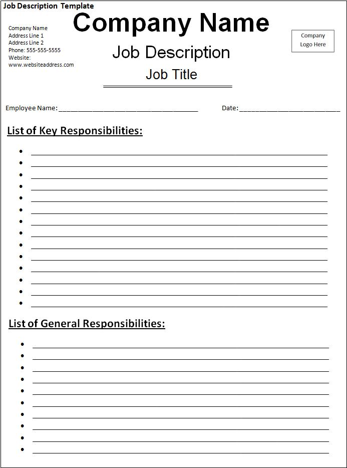 Job description template free printable word templates for Samples of job descriptions templates