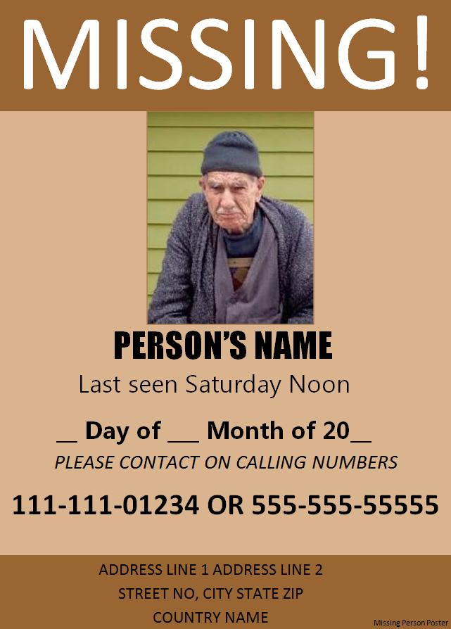Police missing person template