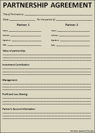 Partnership Agreement Template Free Printable Word