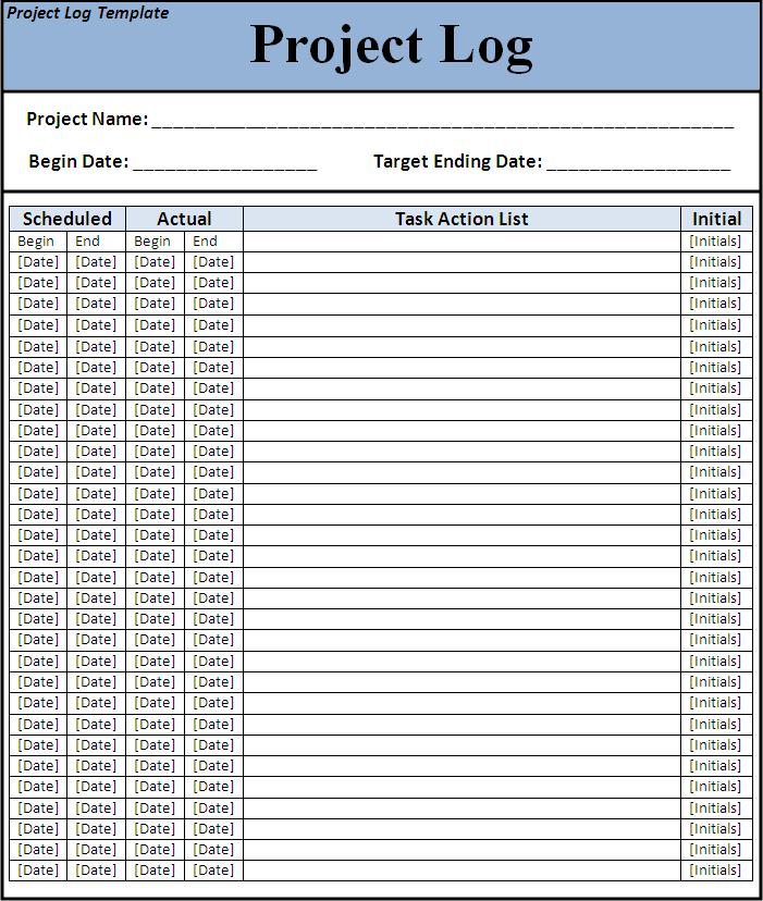 Project Log Template | Free Printable Word Templates
