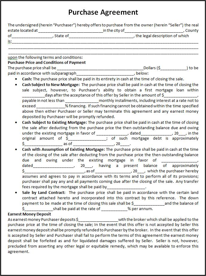 Doc12751650 Printable Purchase Agreement Printable Home – Purchase Agreements