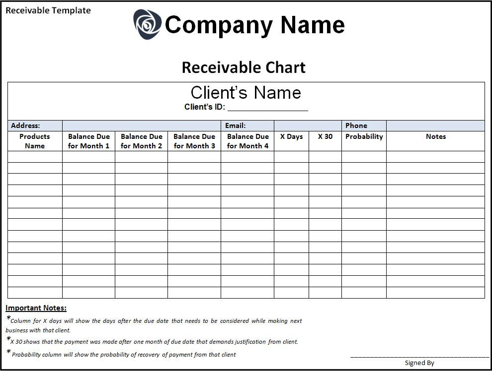 Receivable template free printable word templates for Accounts receivable forms templates