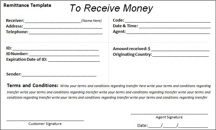 Remittance Template – Money Transfer Receipt Template