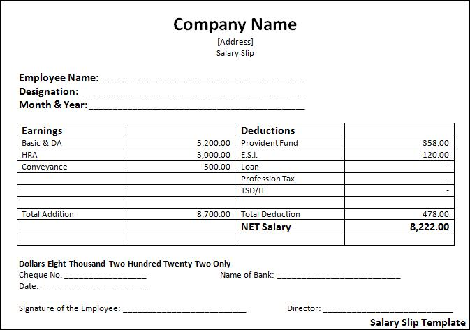 Salary Slip Template – Payroll Invoice Template