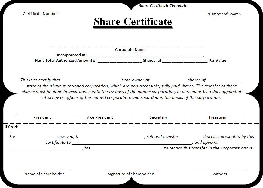 Share Certificate Template – Company Share Certificates