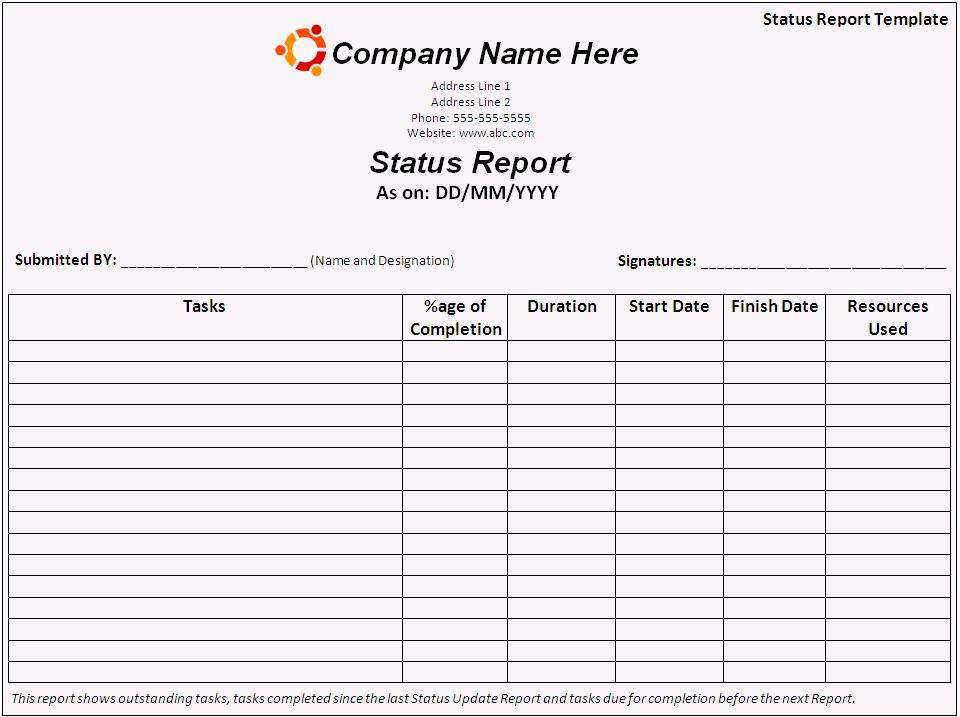 Status Report Template Free Printable Word Templates