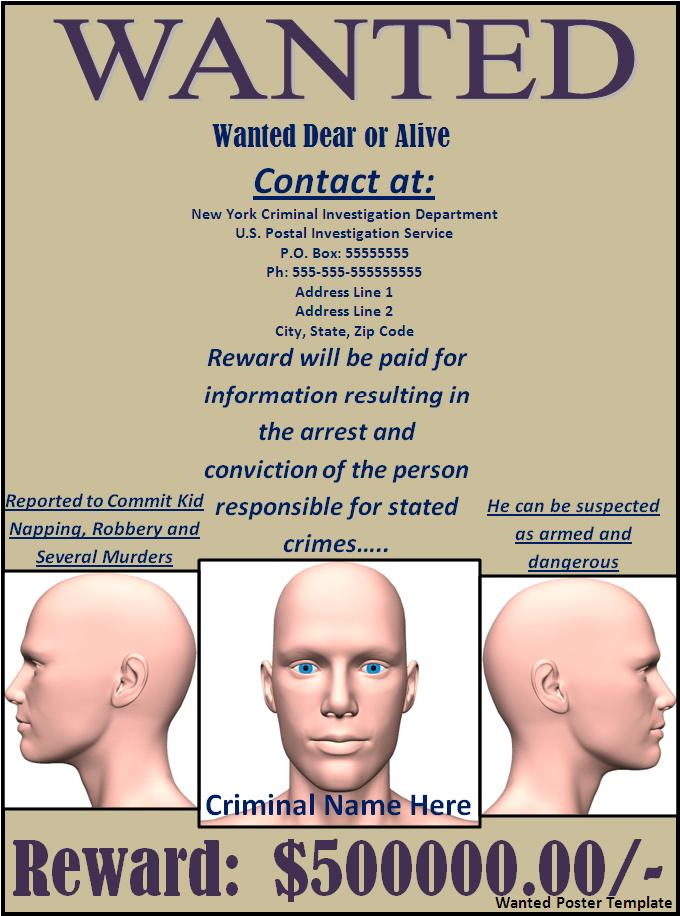 Wanted Poster Template Download. 9 Free & Premium Wanted Poster