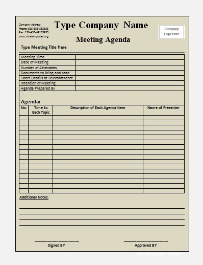Meeting Agenda Templates Free Printable Word Templates