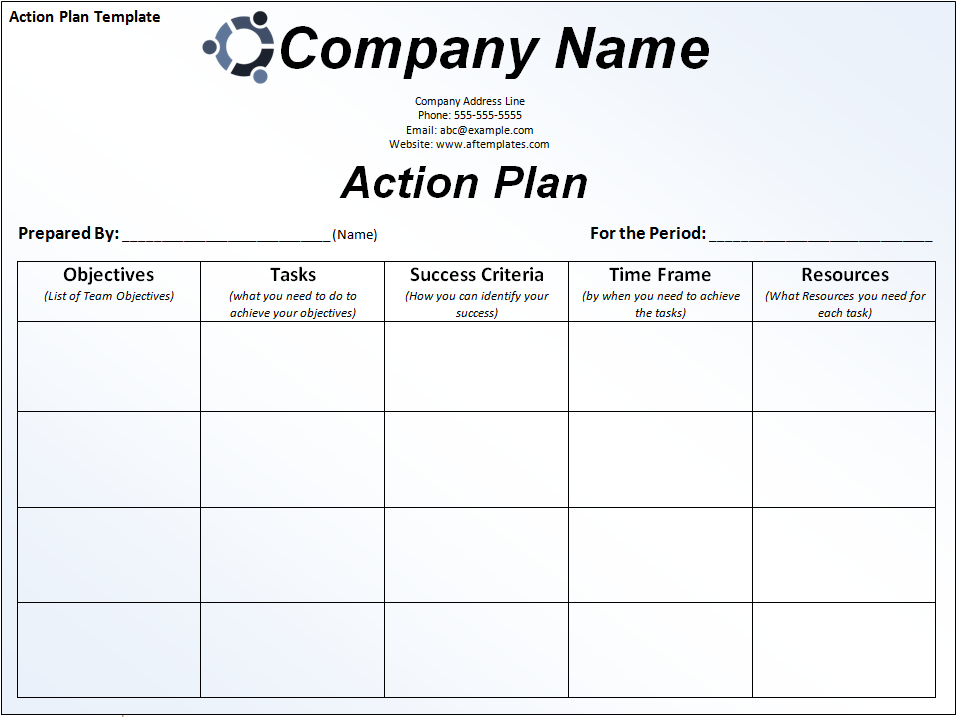 Action plan template examples accmission